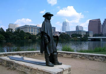 Steve Ray Vaughan memorial statue at Lady Bird Lake