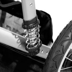 jogging stroller suspension system - a single shock absorber