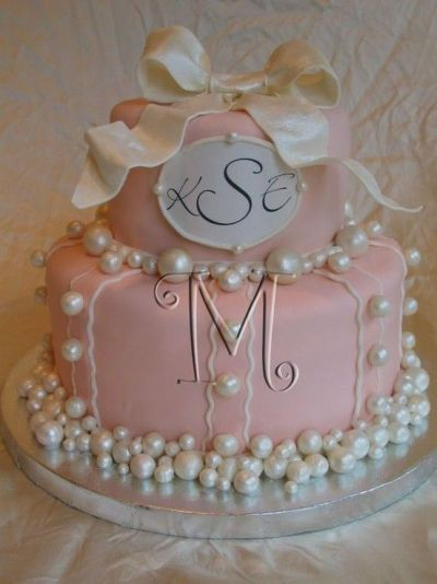 Monogrammed shower cake